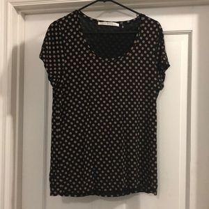 Black & tan blouse